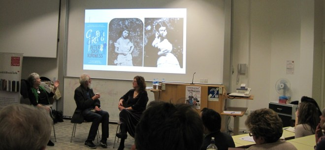 Discussing photographs at Cardiff Book Talk event