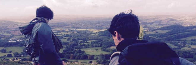 Fair Field rehearsal in Malvern Hills overlooking Ledbury