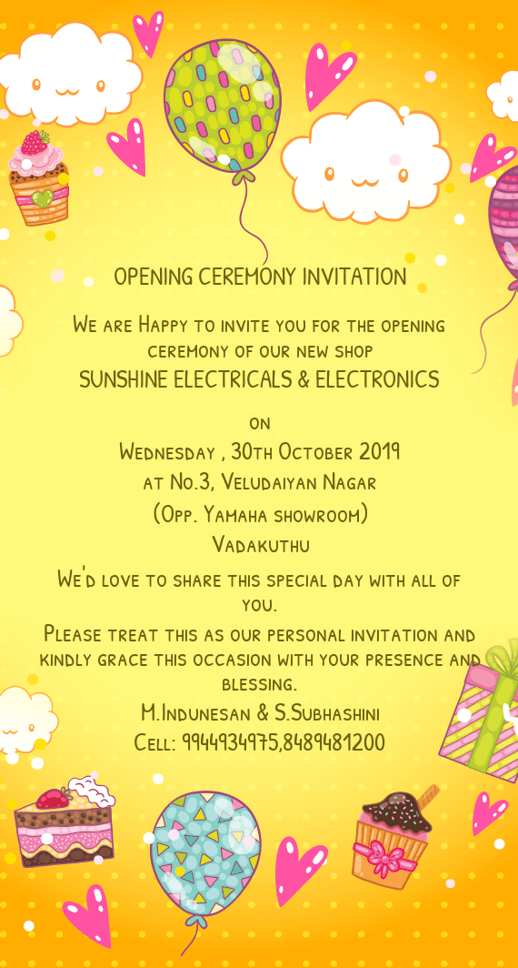 happy to invite you for the opening