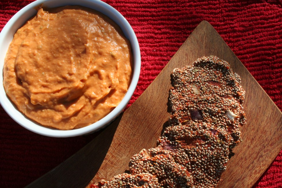Pizza Crackers with Roasted Tomato Basil Dip