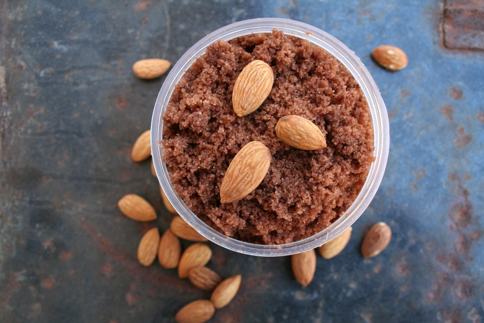 Chocolate Almond Sugar Scrub - Making a sugar scrub is easy and inexpensive. This sweet smelling recipe will make you feel like you are at a spa.