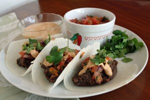 Black Bean Jicama Tacos with Chipotle Cream