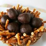 Chocolate Truffle Eggs with an Almond Date Nest close up.