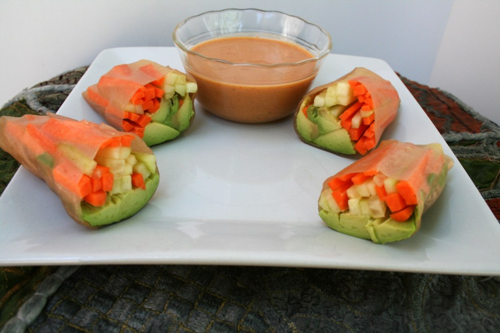 Vegetable Spring Rolls with Peanut Sauce (vegan, gluten free) - These healthy vegan spring rolls are served with a rich savory peanut sauce.