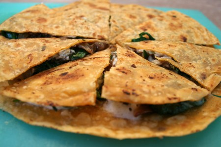 Caramelized Onion and Spinach Vegan Quesadilla