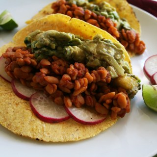 BBQ Tempeh Tacos with Grilled Pineapple Guacamole