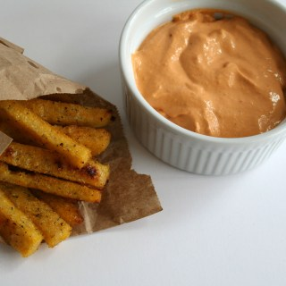 Polenta Fries with Roasted Pepper Dip