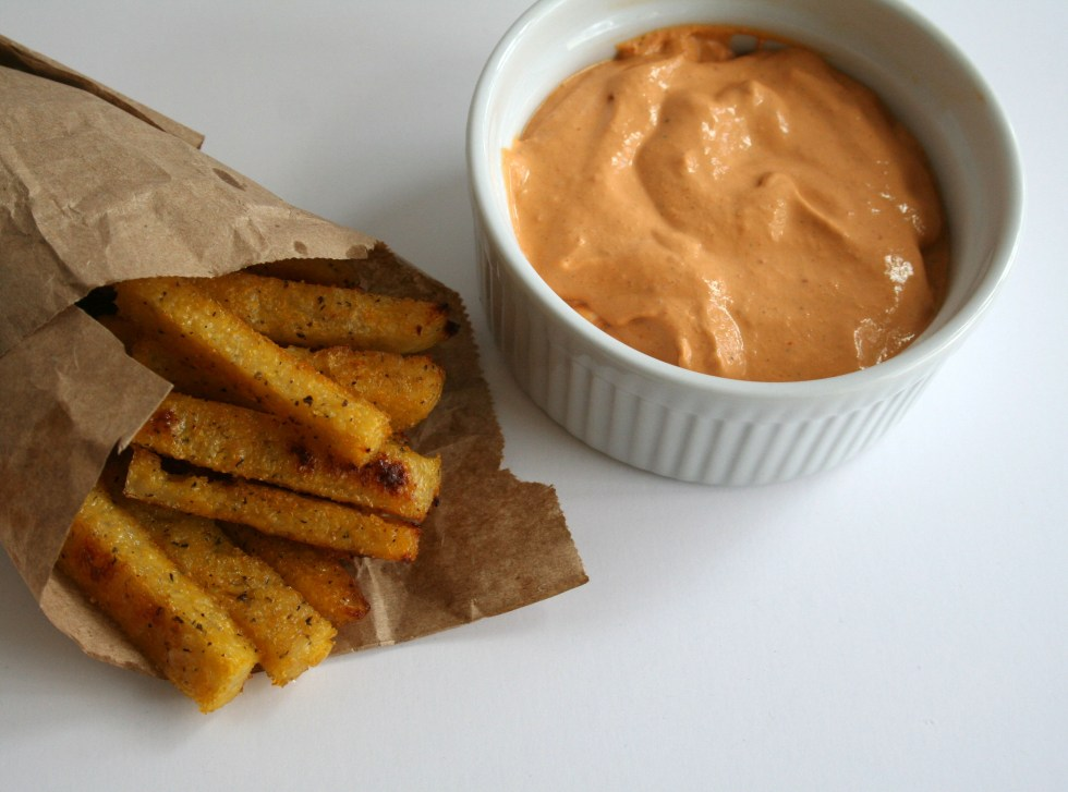 Polenta Fries with Roasted Pepper Dip (vegan, gluten free) - These vegan fries are crispy and satisfying. They pair nicely with a savory roasted pepper dip.