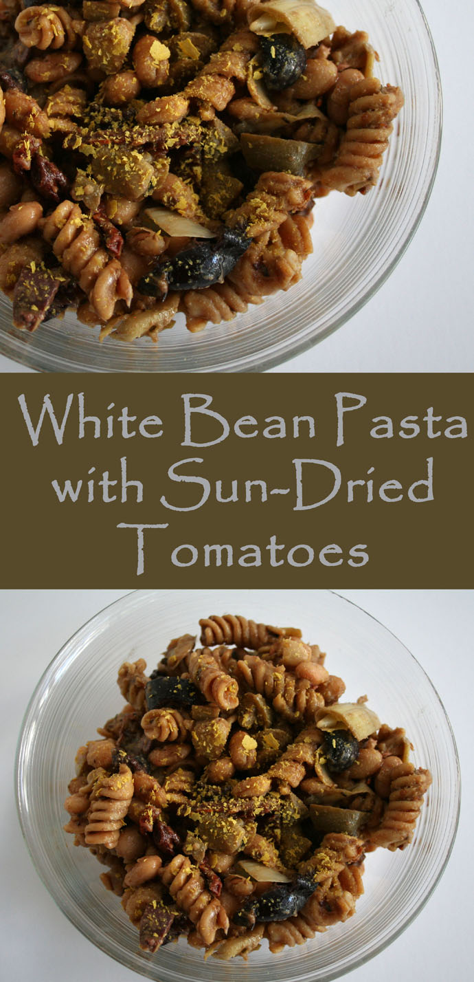 White Bean Pasta with Sun-Dried Tomatoes (vegan, gluten free) - This savory protein packed pasta is perfect for a potluck because it can be served at room temperature.