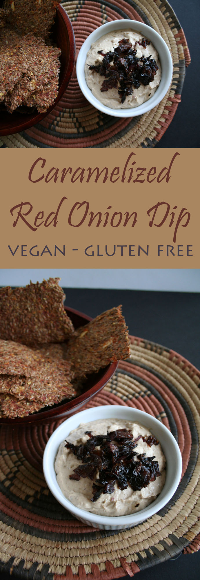 Caramelized Red Onion Dip - This rich vegan dip is way more indulgent and satisfying than any store bought dip or recipe using onion soup mix.