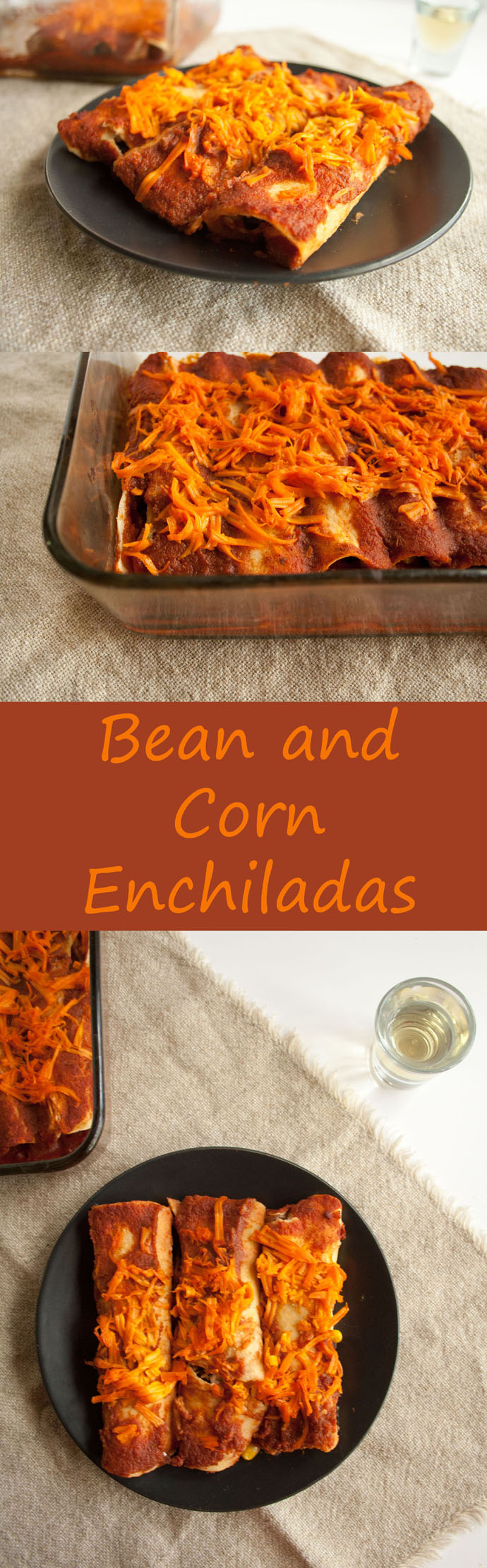 Bean and Corn Enchiladas (vegan, gluten free) - These rich enchiladas will become your new go-to comfort food. Simple ingredients, but big on flavor!