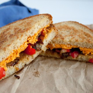 Vegan Grilled Cheese with Caramelized Onion and Red Pepper