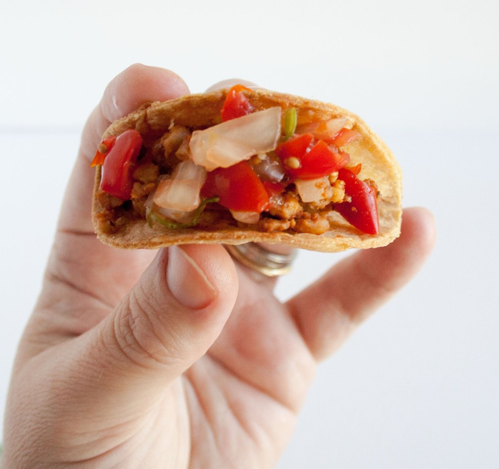 Mini Tempeh Tacos with Pico de Gallo (vegan, gluten free) - These cute little appetizers are sure to impress. They are easy to make and add a healthy addition to any spread.