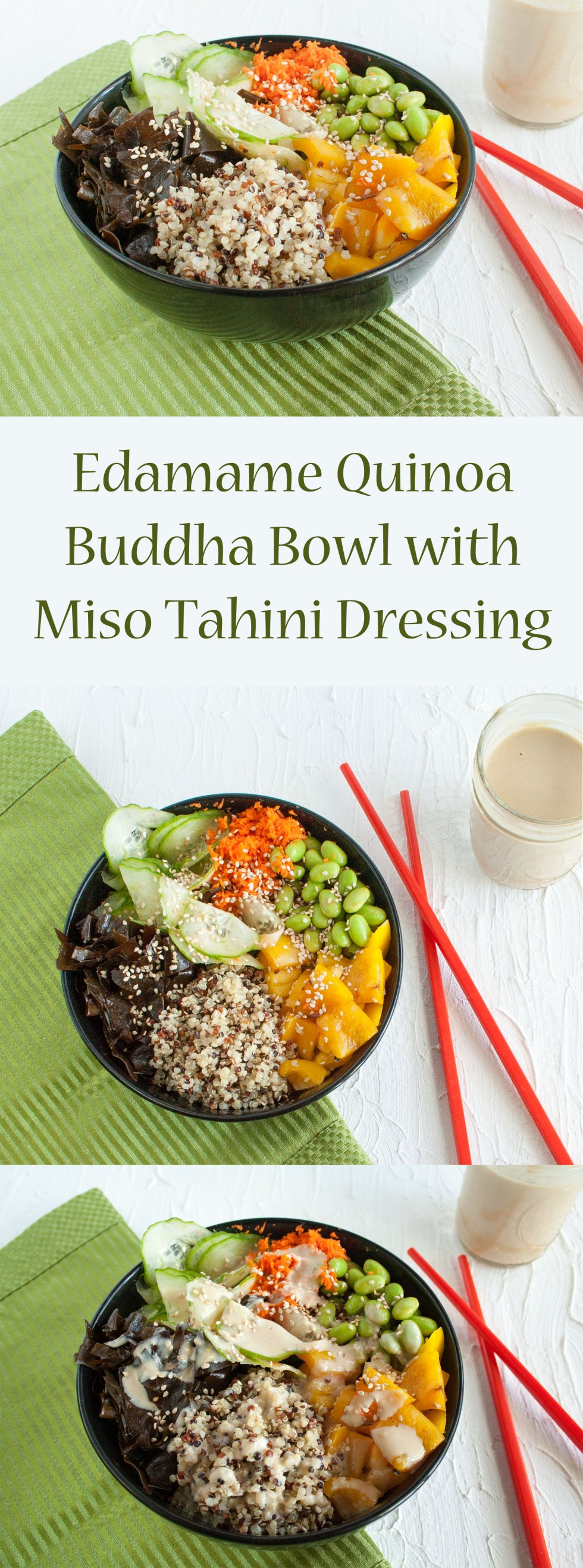Edamame Quinoa Buddha Bowl with Miso Tahini Dressing (vegan, gluten free) - This healthy Asian inspired bowl is a complete meal.