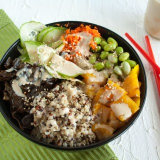 Edamame Quinoa Buddha Bowl with Miso Tahini Dressing