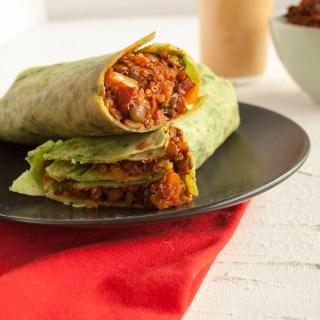 Lentil Quinoa Burritos with Chipotle Sauce