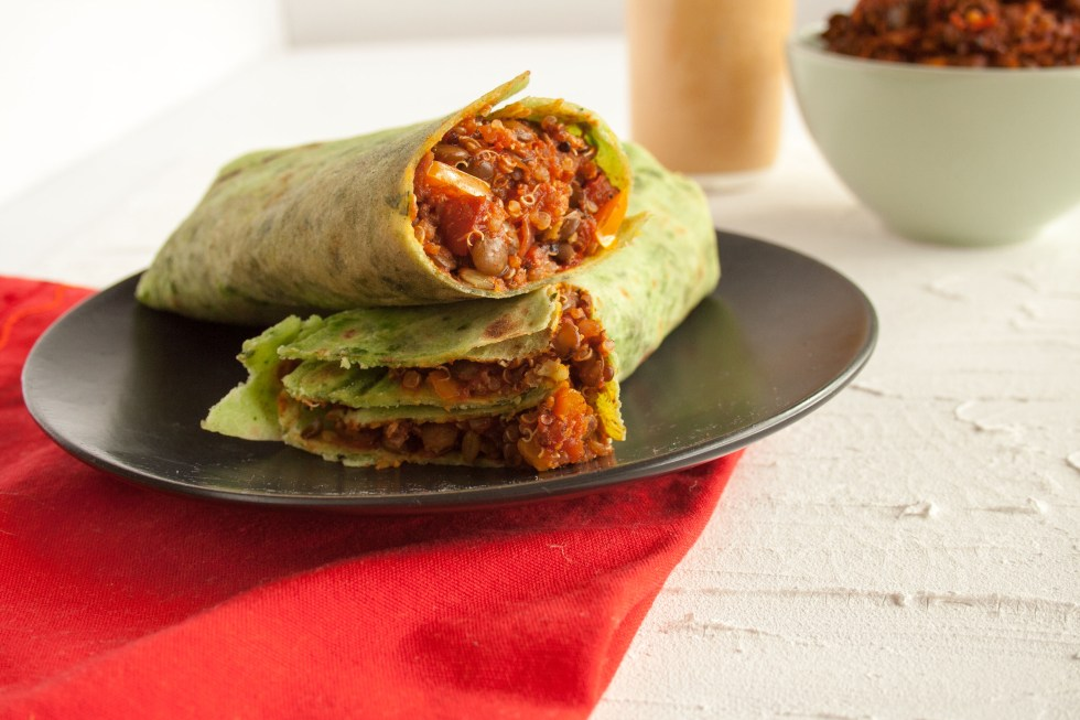 Lentil Quinoa Burritos with Chipotle Sauce (vegan, gluten free) - These easy comforting burritos are perfect for a weeknight meal. They are healthy and satisfying!