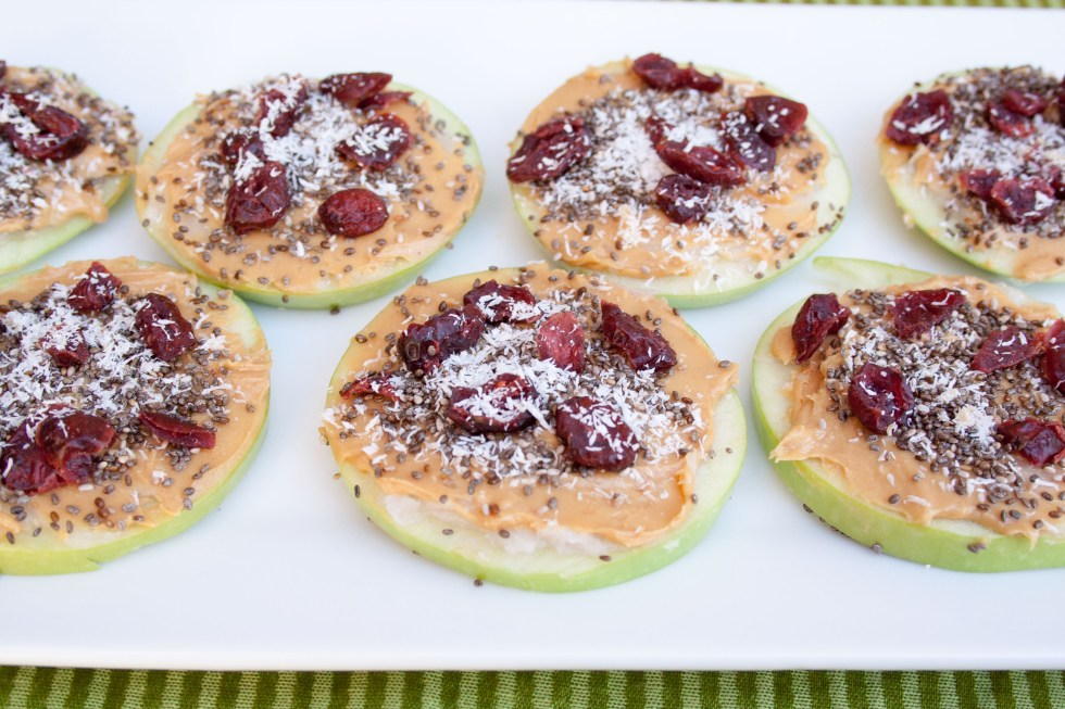 Coconut Peanut Butter Apple Pizzas (vegan, gluten free) - These filling, healthy pizzas are perfect for breakfast or a snack.