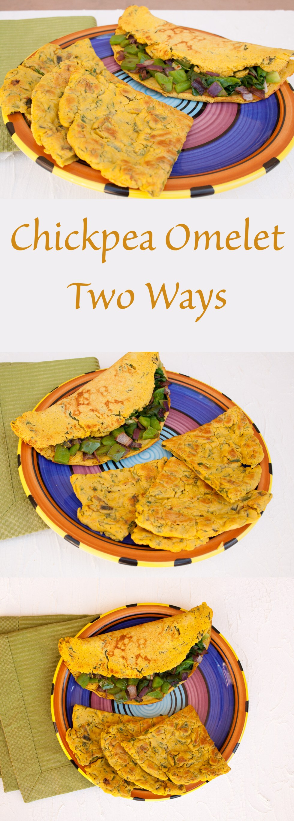 Chickpea Omelet Two Ways (vegan, gluten free) - These savory vegan omelets are a great way to start your day. Make with vegetables mixed in or place on top.