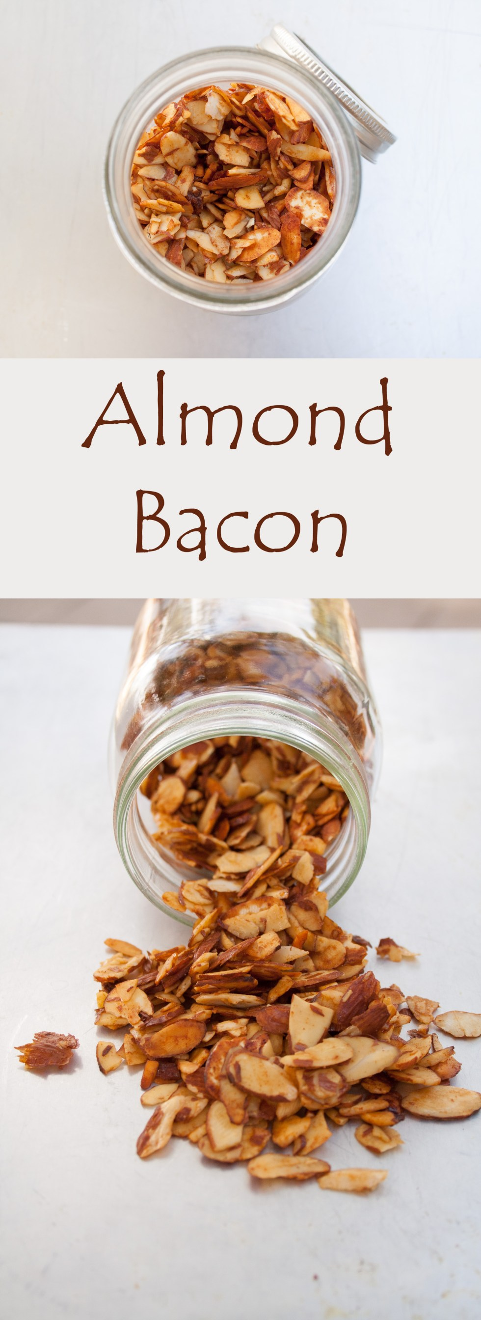 Almond Bacon (vegan, gluten free) - This easy vegan bacon is smoky with a touch of sweet. It adds a nice crunchy texture to any dish you use it in.