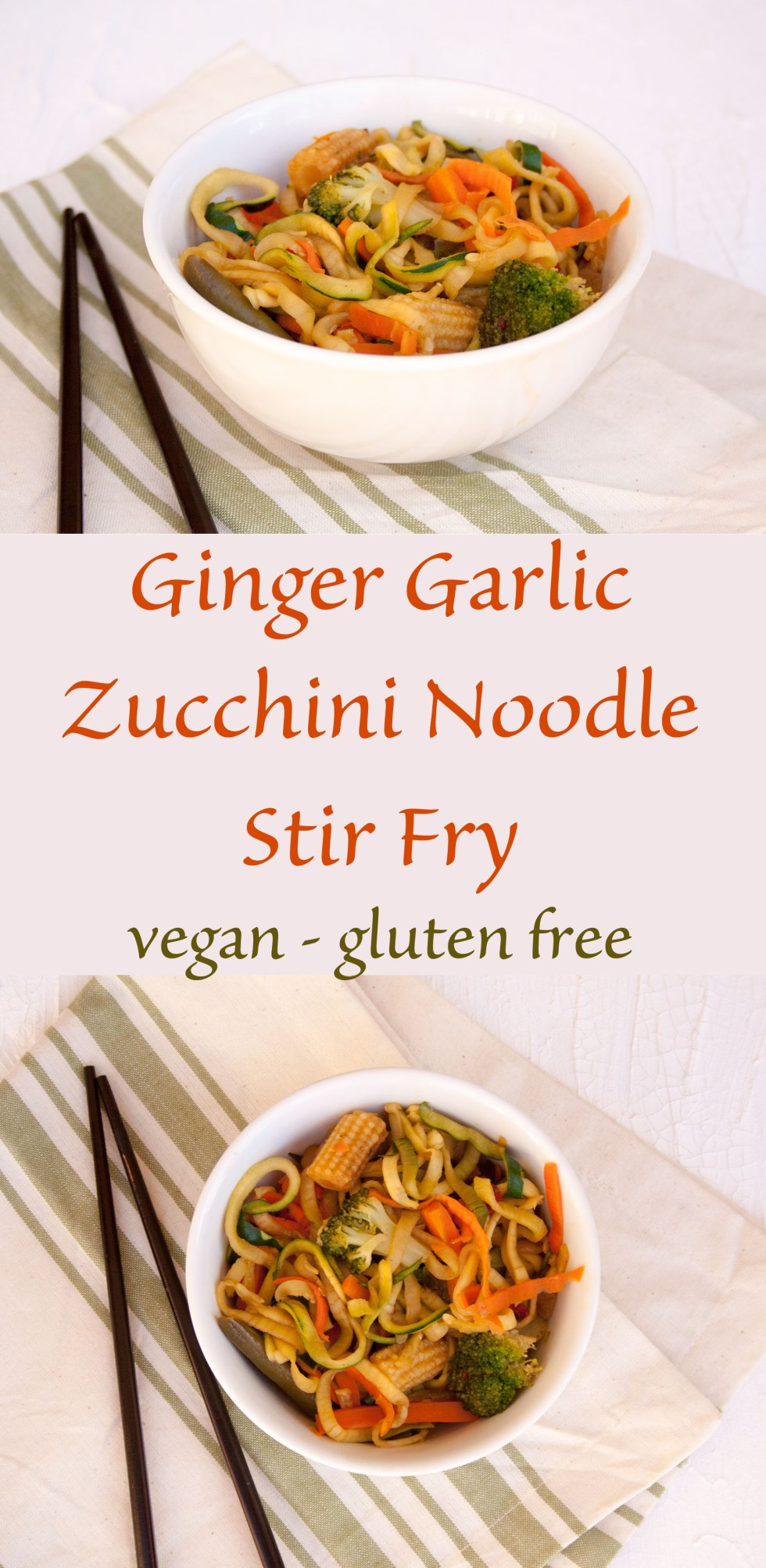 Ginger Garlic Zucchini Noodle Stir Fry (vegan, gluten free) - This healthy stir fry makes a perfect side dish. Add some cashews or tofu and it makes a perfect meal!