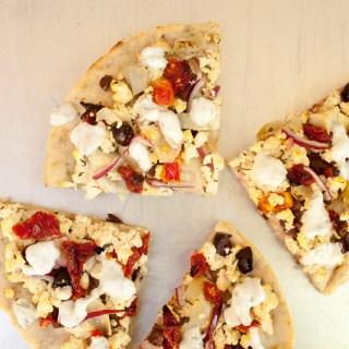 Tofu Feta and Sun-Dried Tomato Pizza with Vegan Tzatziki