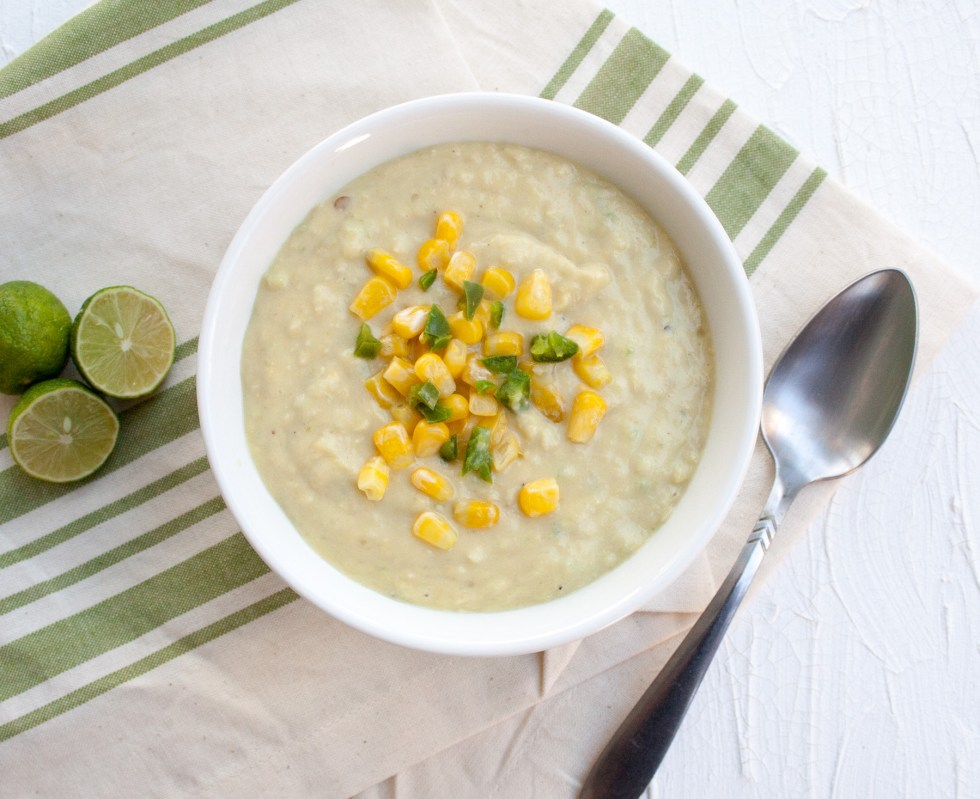 Creamy Corn Soup with Jalapeño (vegan, gluten free) - A sweet and spicy soup that is simple to make with many ingredients you probably already have in your pantry.