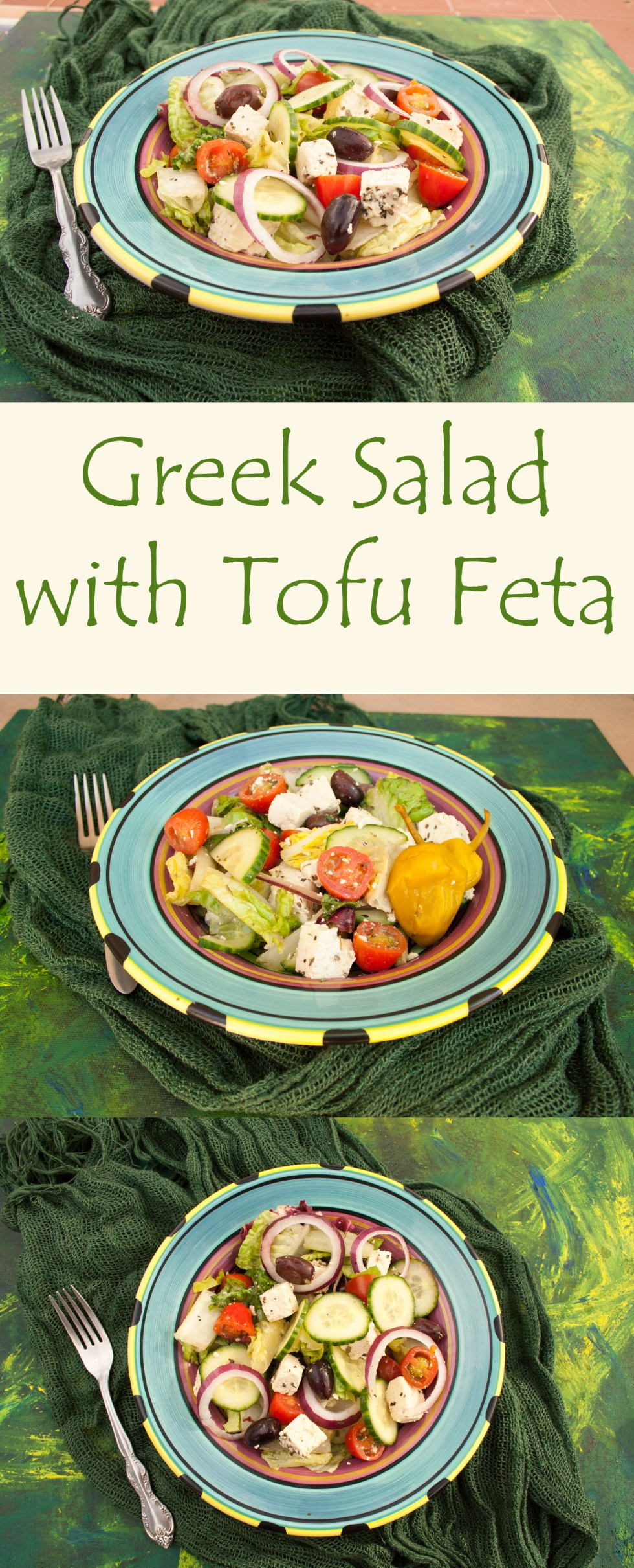 Greek Salad with Tofu Feta - For those of you cutting out dairy this vegan salad will satisfy your Greek salad cravings!