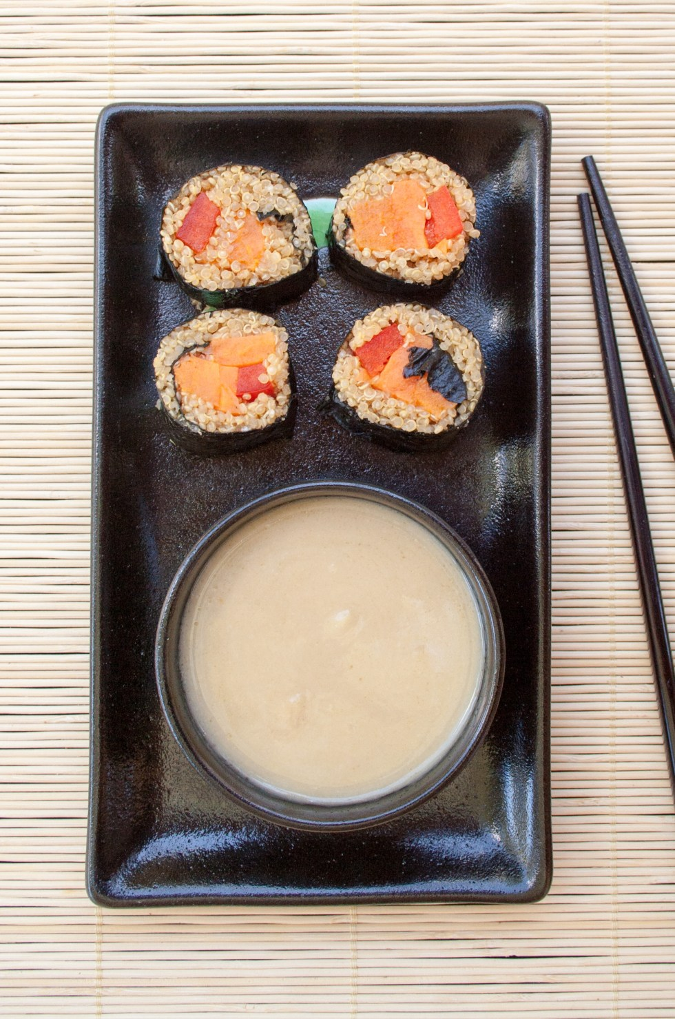 Sweet Potato Sushi Rolls with Quinoa (vegan, gluten free) - These sweet and savory sushi rolls have a miso ginger dipping sauce. Great as an appetizer or main dish.