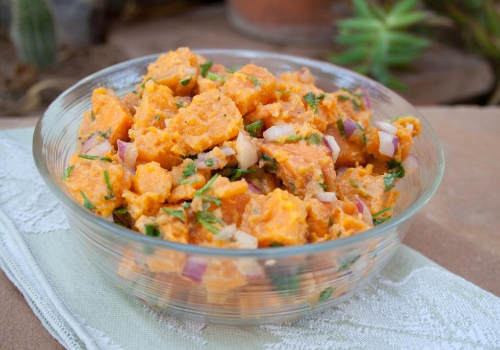 Sweet Potato Salad with Agave Mustard Dressing (vegan, gluten free) - This sweet and savory potato salad makes a perfect side dish for a BBQ or picnic.