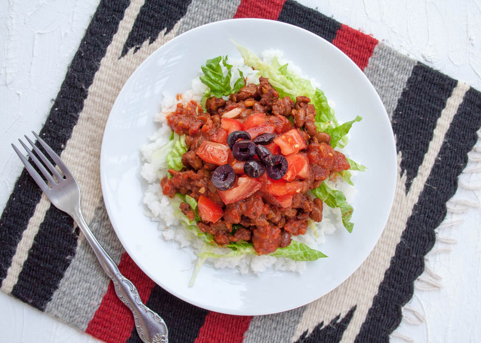 Vegan Taco Rice (Takoraisu) - This gluten free recipe is a fusion of Tex-Mex and Japanese cuisine. It is a popular Okinawan dish made with taco flavored...