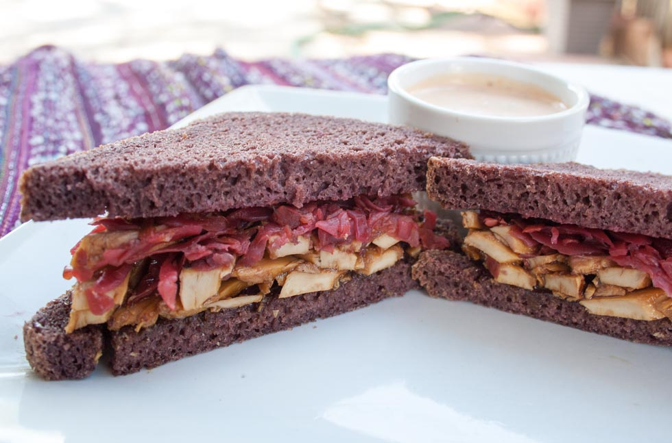 Vegan Teriyaki Reuben with Spicy Thousand Island Dressing - This vegan sandwich has a sweet teriyaki sauce, spicy raw sauerkraut, and a spicy thousand island dressing.
