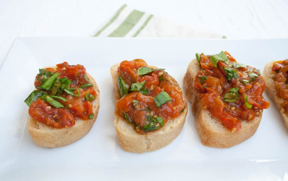 Roasted Tomato Bruschetta - This vegan gluten free appetizer is a host's best friend. It is not only easy to throw together, but it is elegant and satisfying.