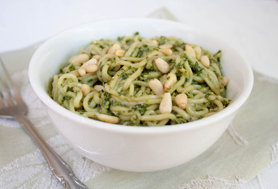 Vegan Pesto Shirataki Noodles close up.