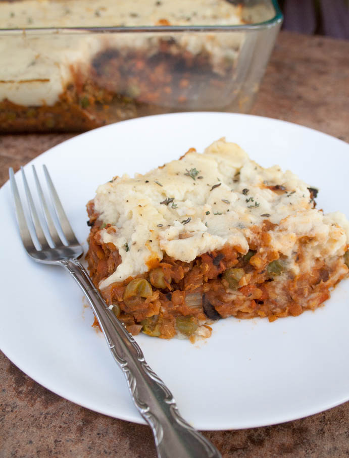 Lentil and Mushroom Shepherd's Pie with Mashed Cauliflower (vegan, gluten free) - This comforting classic has a new twist with mashed cauliflower on top.