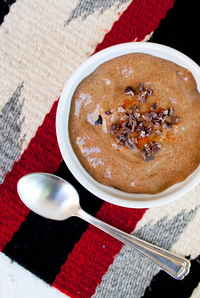Mexican Chocolate Chia Pudding with spoon