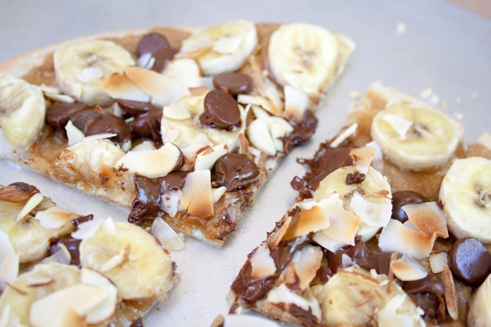 Banana, Chocolate and Peanut Butter Dessert Pizza close up.