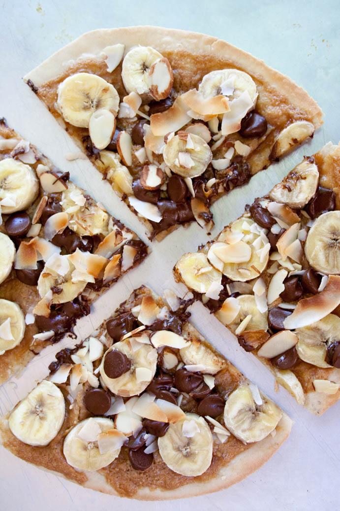 Banana, Chocolate and Peanut Butter Dessert Pizza vertical.