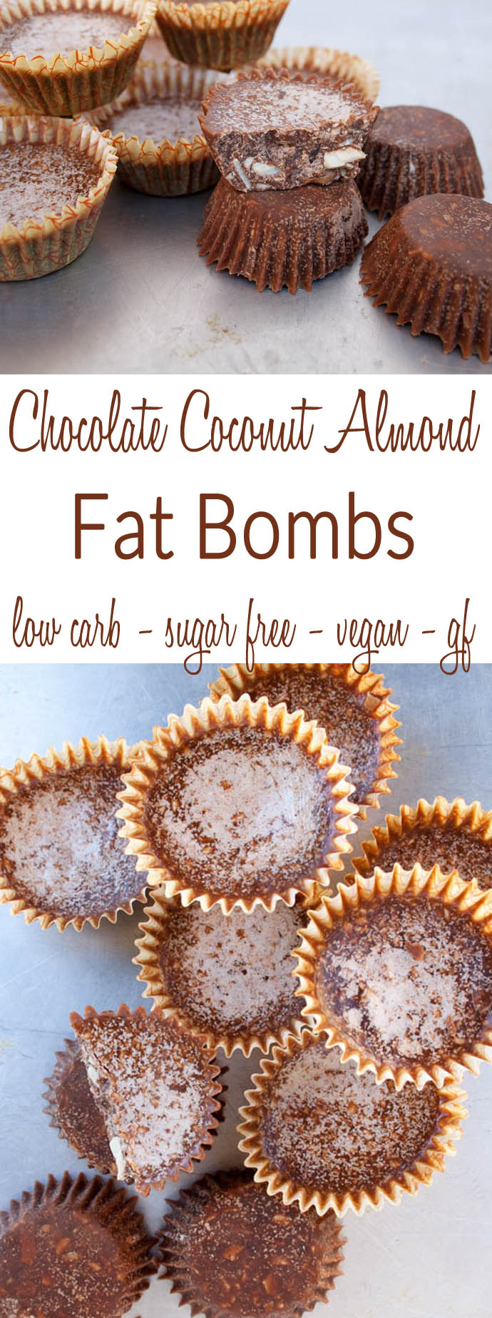 Chocolate Coconut Almond Fat Bombs (vegan, gluten free, low carb, sugar free) - These healthy sweet treats are a great way to add coconut oil into your diet!