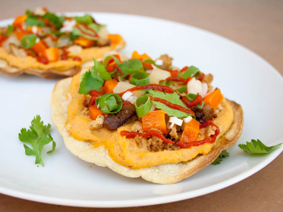 Teriyaki Tofu and Pineapple Tostadas with Sriracha Hummus (vegan, gluten free) - If you like sweet and spicy, these tostadas are for you! These fusion tostadas are easy to make, and are healthy too!