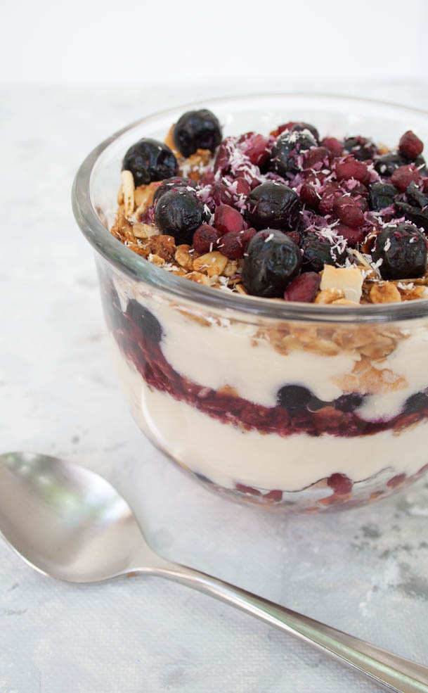 Vegan Fruit and Yogurt Breakfast Parfait (gluten free) - This easy breakfast is sweet, creamy, and crunchy. It is perfect for people on a tight schedule.