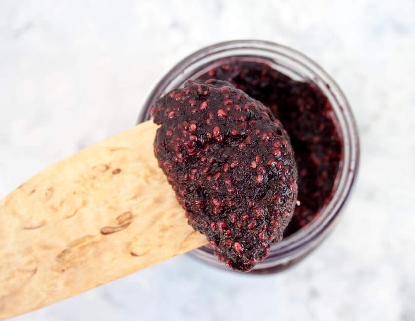 Blueberry Chia Jam (vegan, gluten free) - This healthy jam is packed with nutrition! It is thickened with chia seeds and made with very little sweetener.