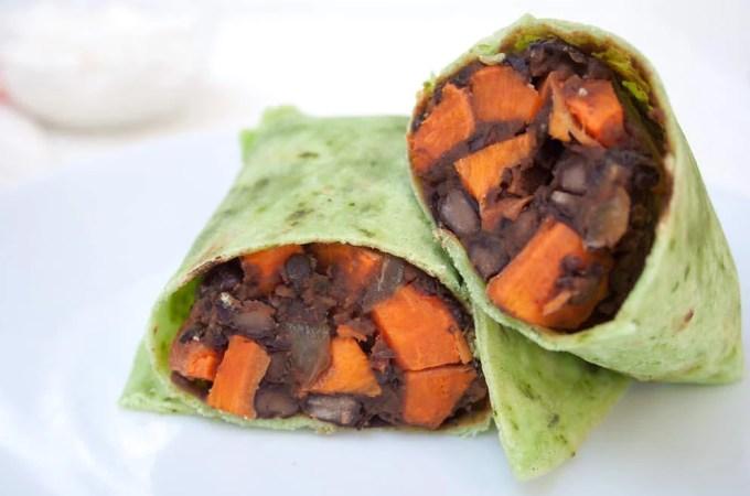 Sweet Potato and Maple Chipotle Black Bean Burritos