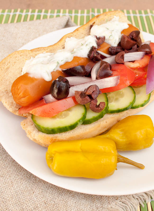 Greek Vegan Hot Dog (gluten free) - Ready to change your vegan hot dog repertoire with some fusion cuisine? Then this recipe is for you!