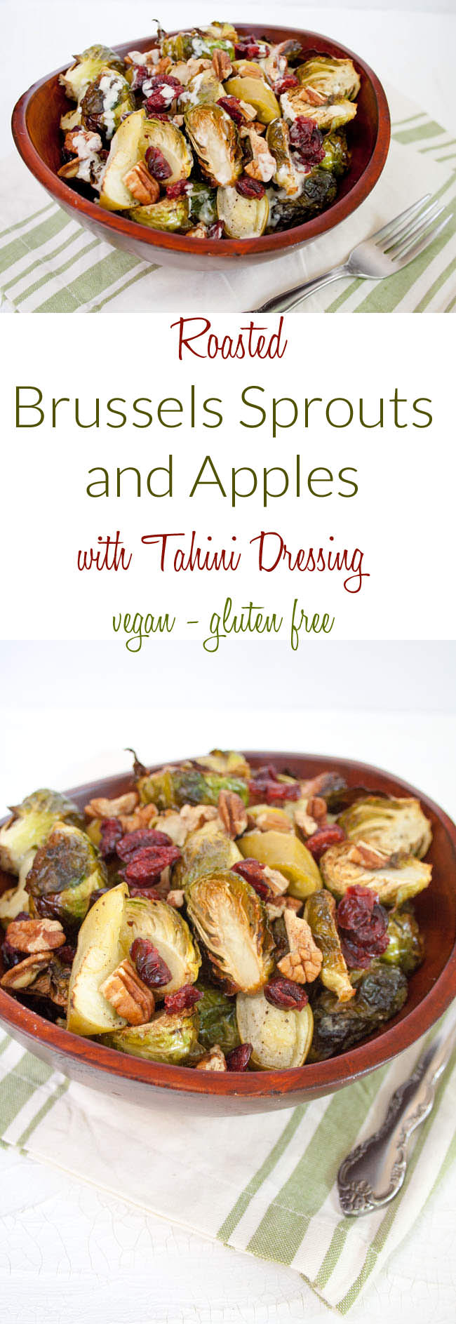 Roasted Brussels Sprouts and Apples with Tahini Dressing collage photo