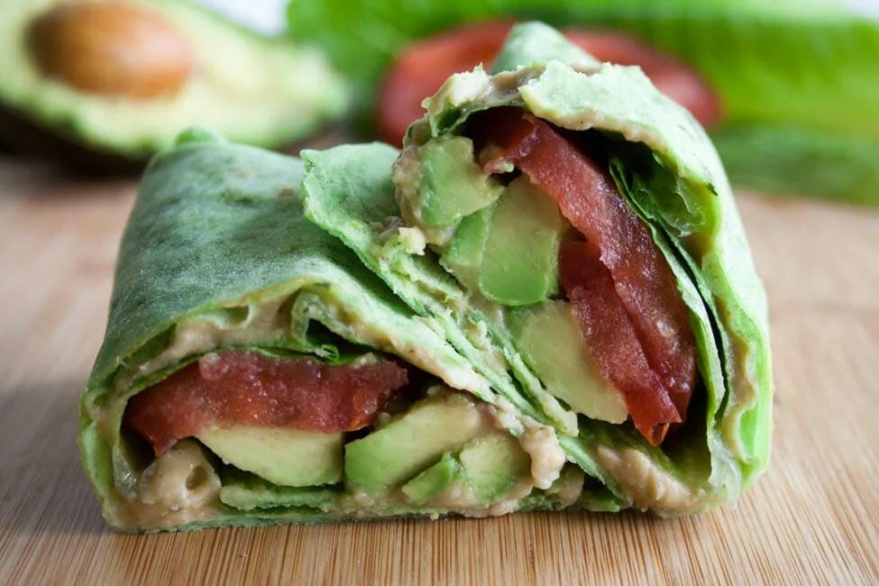 ALT (Avocado, Lettuce, and Tomato) Wrap close up.