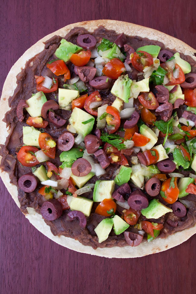 Vegan Mexican Tortilla Pizza birds eye view.