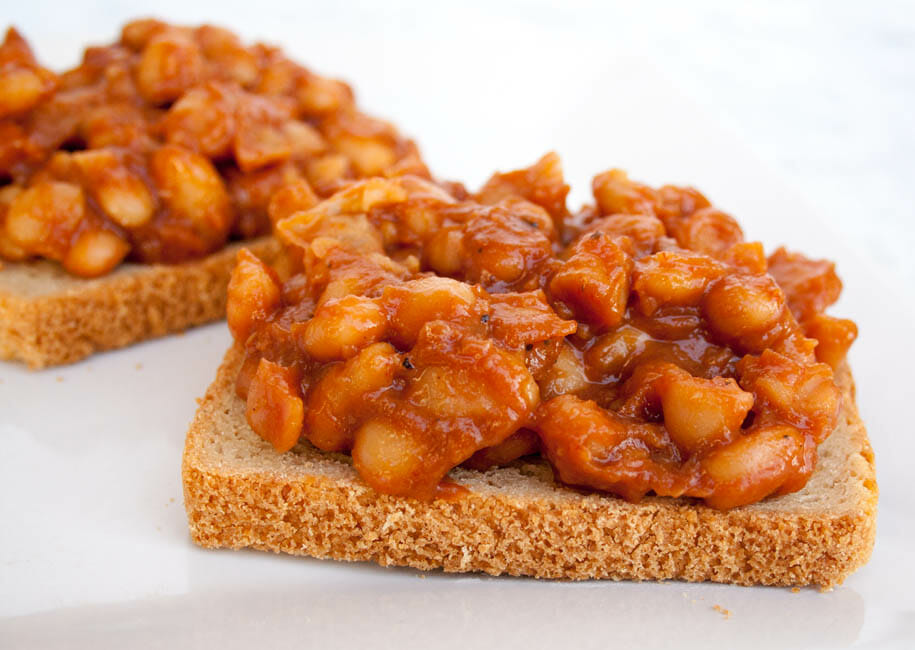 Sweet and Spicy Sriracha Beans on Toast close up