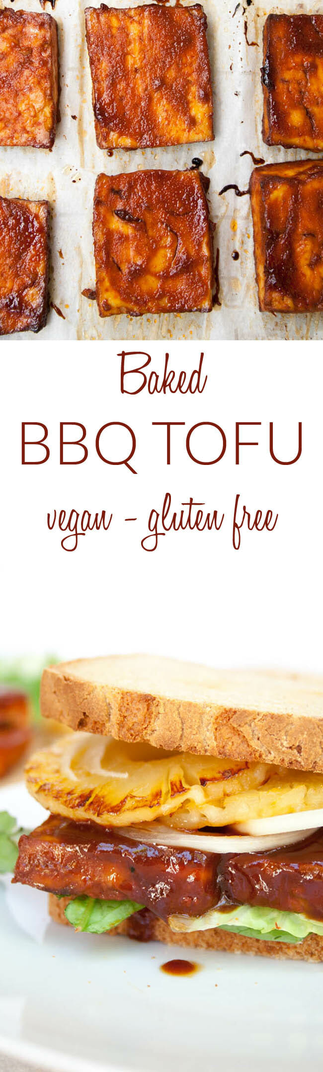 Baked BBQ Tofu collage photo with text.