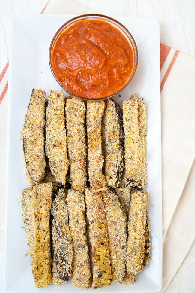 Baked Eggplant Fries birds eye view with Sun-Dried Tomato Sauce.